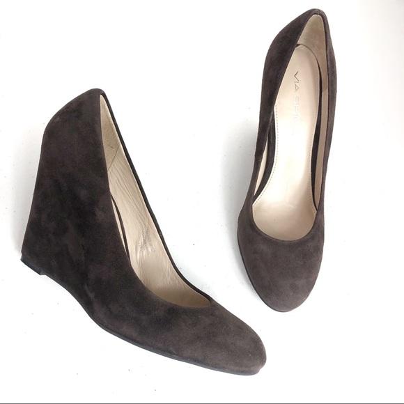 Via Spiga Shoes - Via Spiga Wedge Suede Sandals Size 7